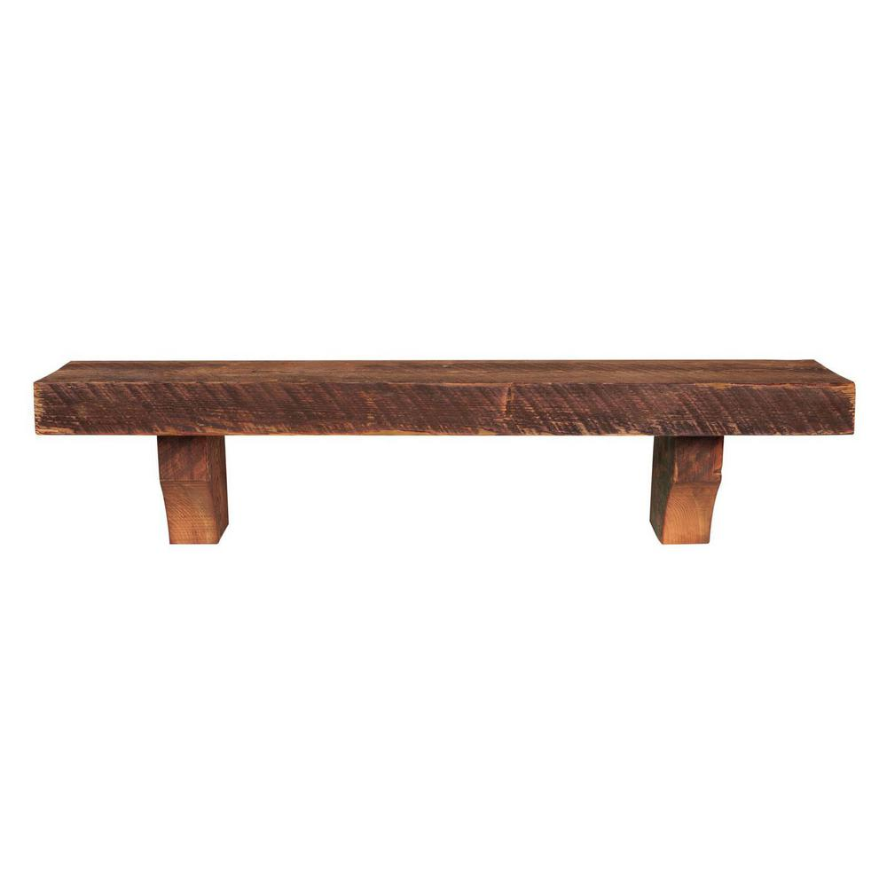 Whiskey Finish Reclaimed Solid Pine Cap Shelf Mantel Corbels Brown 30 Product Photo