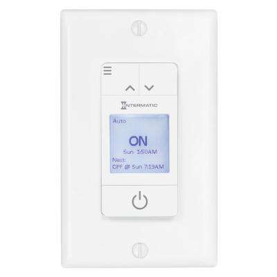 Ascend™ Standard 15 Amp 7-Day Indoor Programmable In-Wall Timer with Auto DST and Astro ON/OFF in White