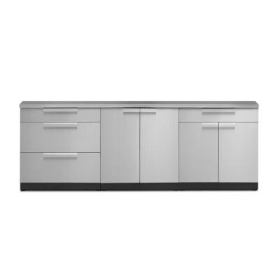 Stainless Steel 4-Piece 96 in. W x 36.5 in. H x 24 in. D Outdoor Kitchen Cabinet Set