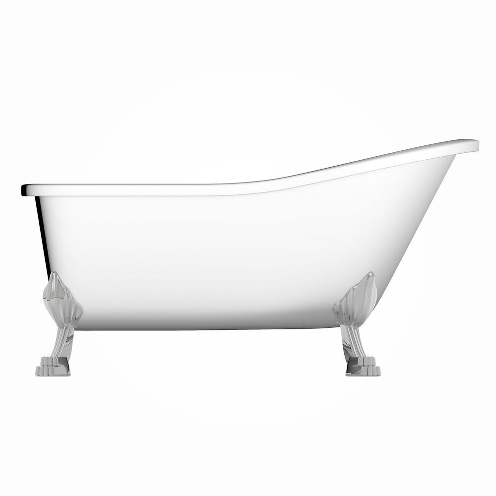 Jade Bath London 69 In Acrylic Clawfoot Bathtub White