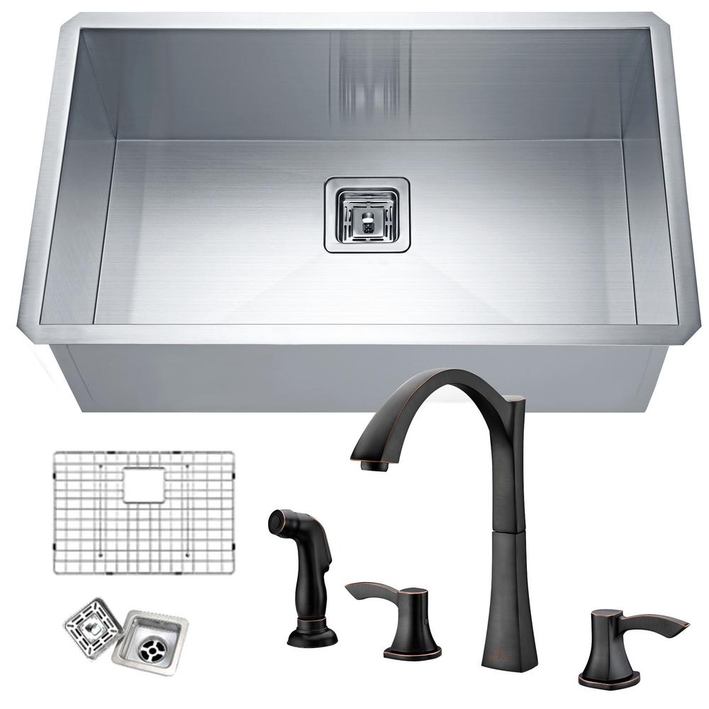 Anzzi vanguard undermount stainless steel 30 in single for Oiled bronze faucet with stainless steel sink