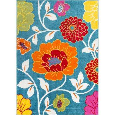 StarBright Daisy Flowers Blue 5 ft. x 7 ft. Kids Area Rug