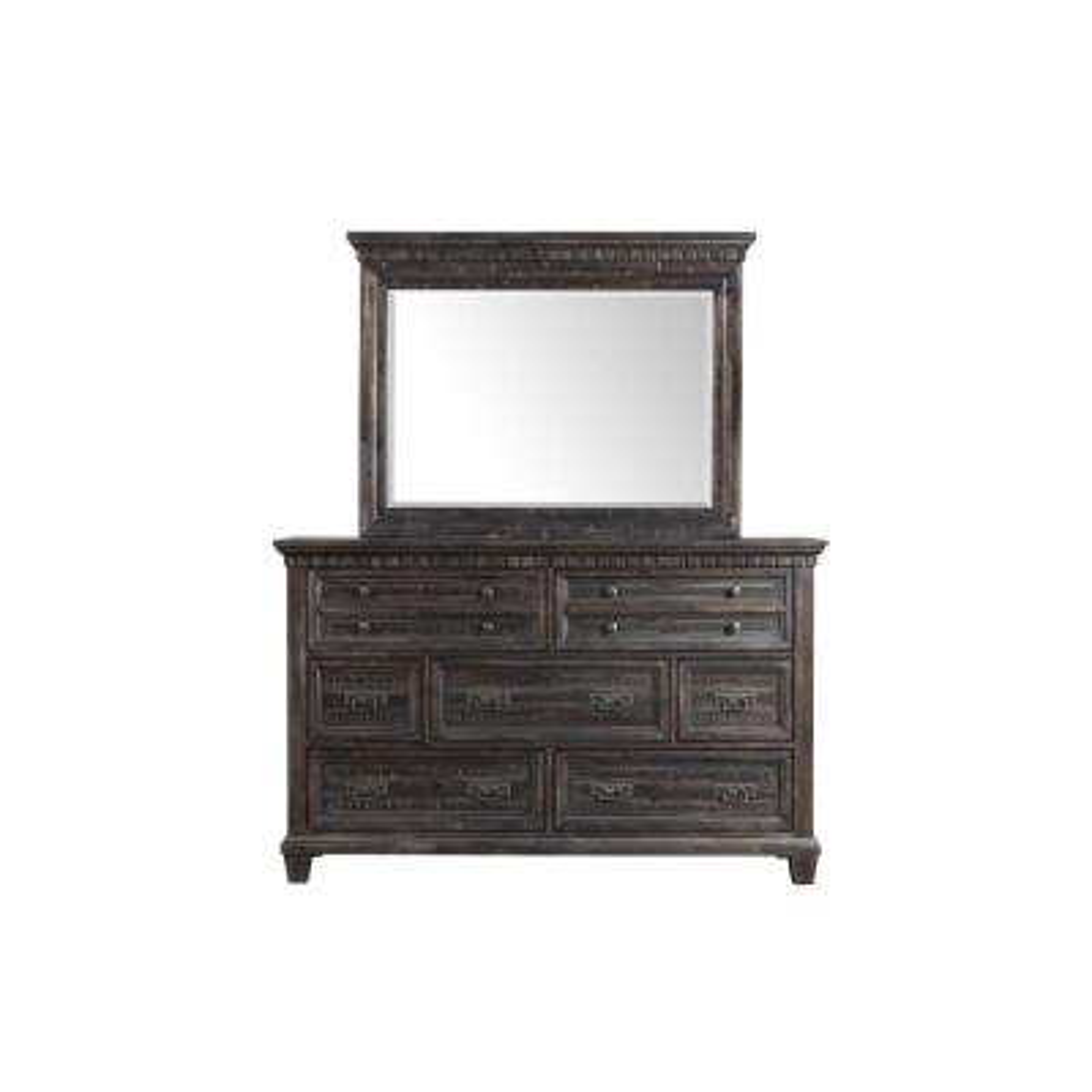 Steele 7-Drawer Smokey Gray Oak Dresser with Mirror