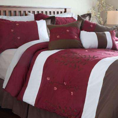 Sarah Red Embroidered 7-Piece King Comforter Set