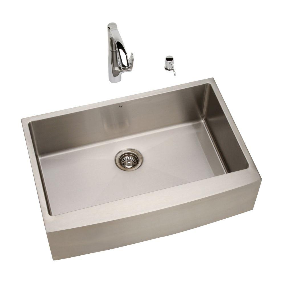 Vigo All-in-One Farmhouse Stainless Steel 33x21.5x9.875 0-Hole Single Basin Kitchen Sink-DISCONTINUED