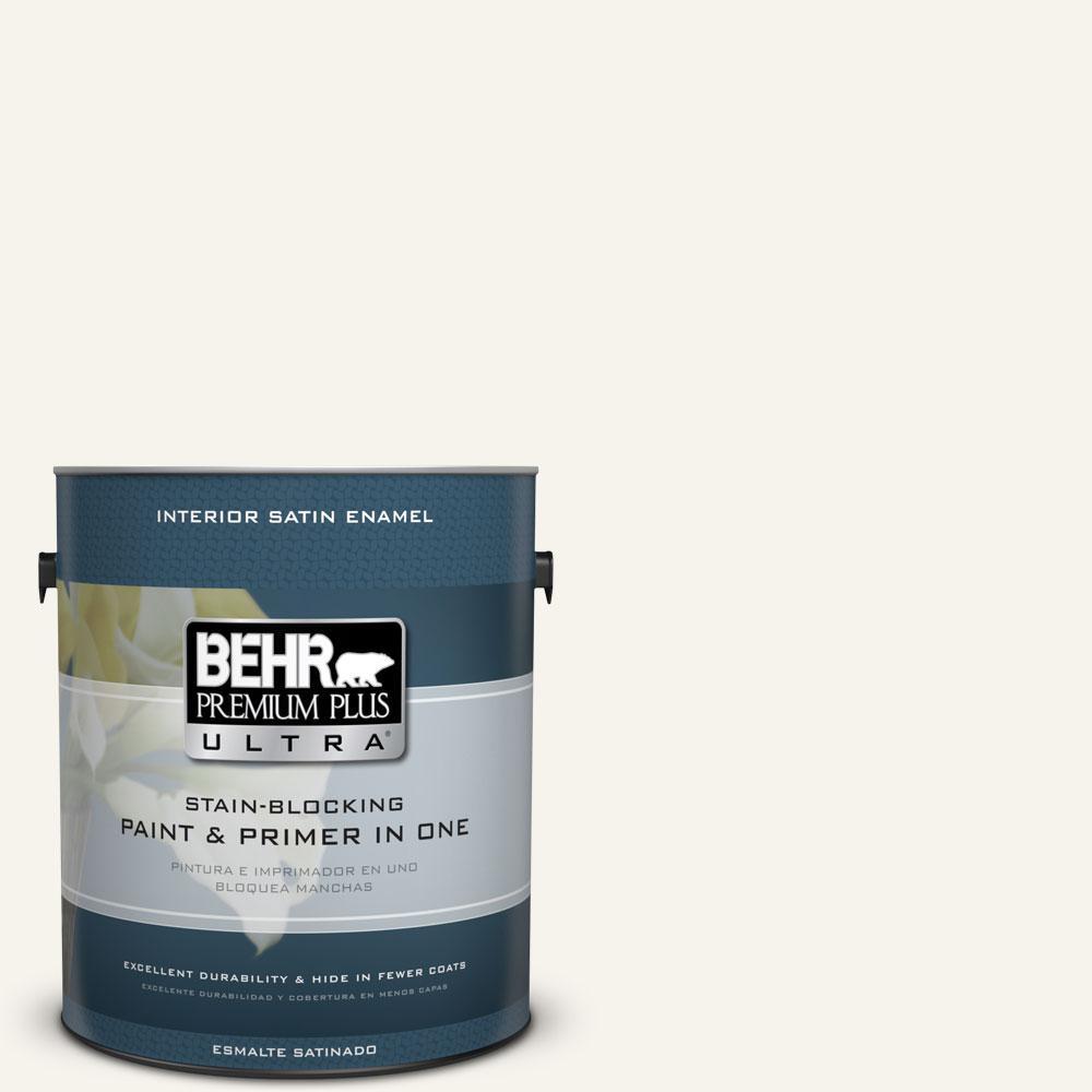 BEHR Premium Plus Ultra 1-gal. #400E-1 Mirage White Satin Enamel Interior Paint