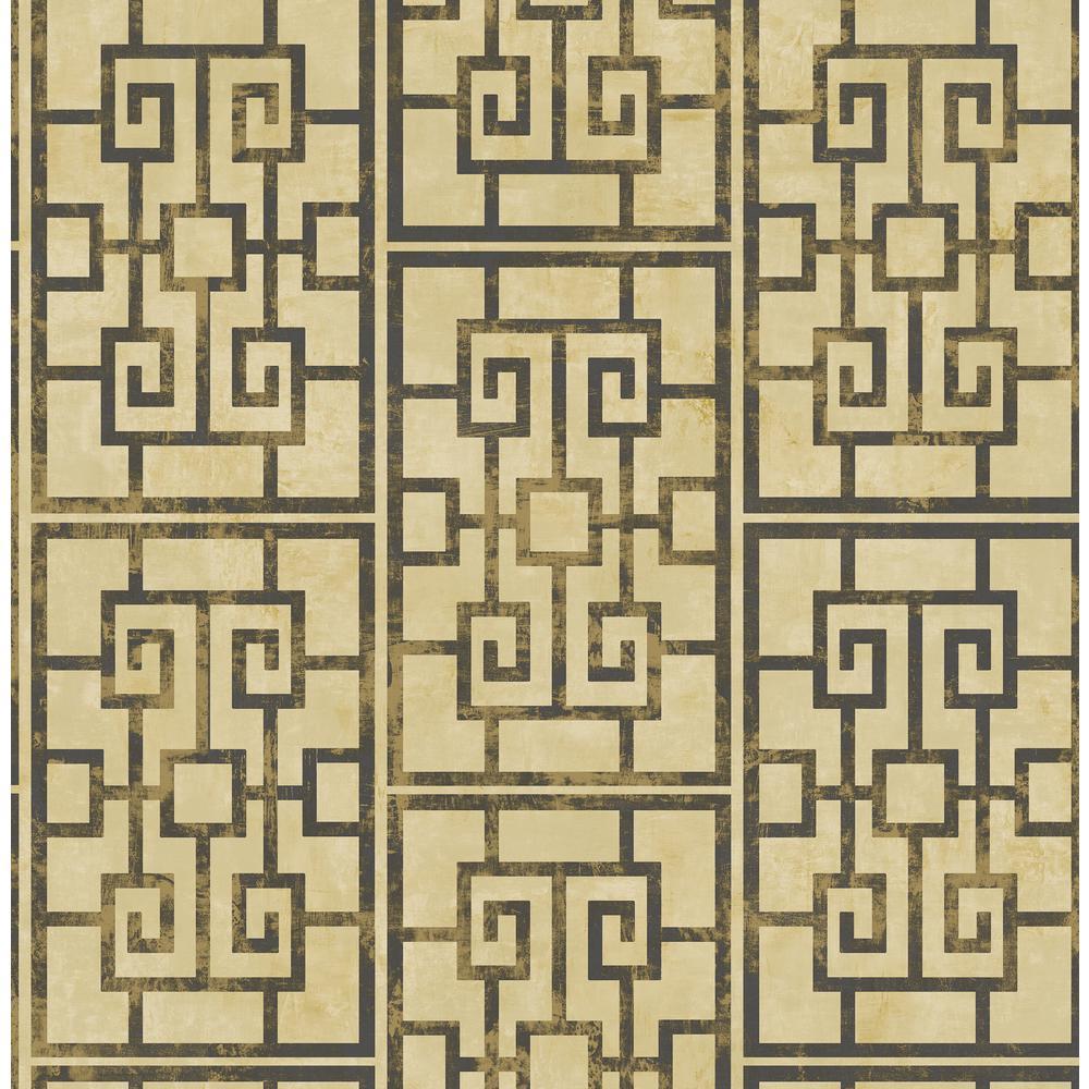 Seabrook Designs Dynasty Metallic Gold and Ebony Lattice Wallpaper AI40200