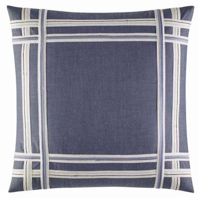 Fairwater Blue Cotton 18 in. x 18 in. Decorative Pillow
