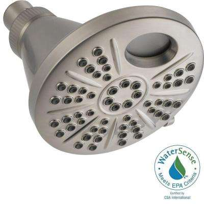 Temp2O 6-Spray 6 in. LED Digital Temperature Display Showerhead in Stainless