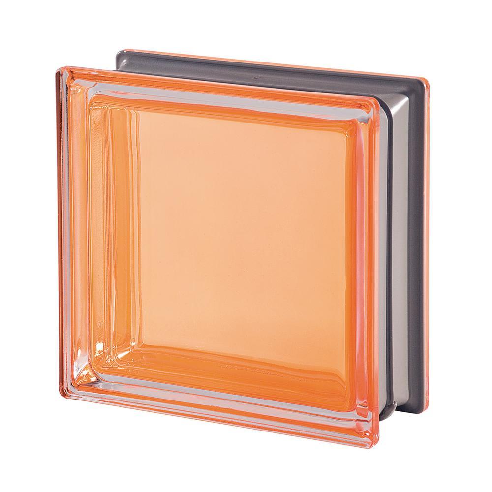Mendini Q19 Ambra 7.48 in. x 7.48 in. x 3.15 in. Clear Pattern Glass Block (5-Pack)