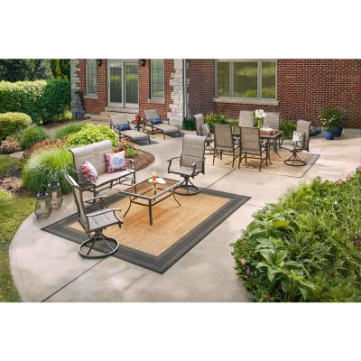 Riverbrook Espresso Brown Rectangle Steel Glass Top Outdoor Patio Coffee Table