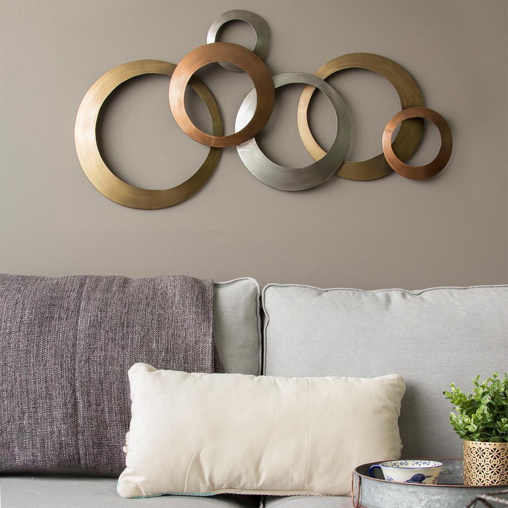 Stratton Home Decor Multi Metallic Rings Metal Wall Decor ...