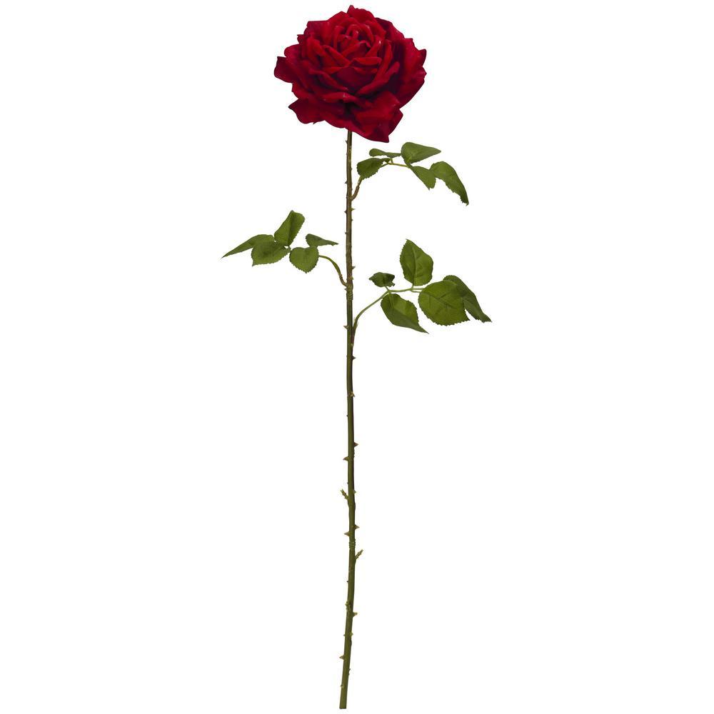 Indoor 33 in. Elegant Red Giant Rose Artificial Flower (Set of 4)