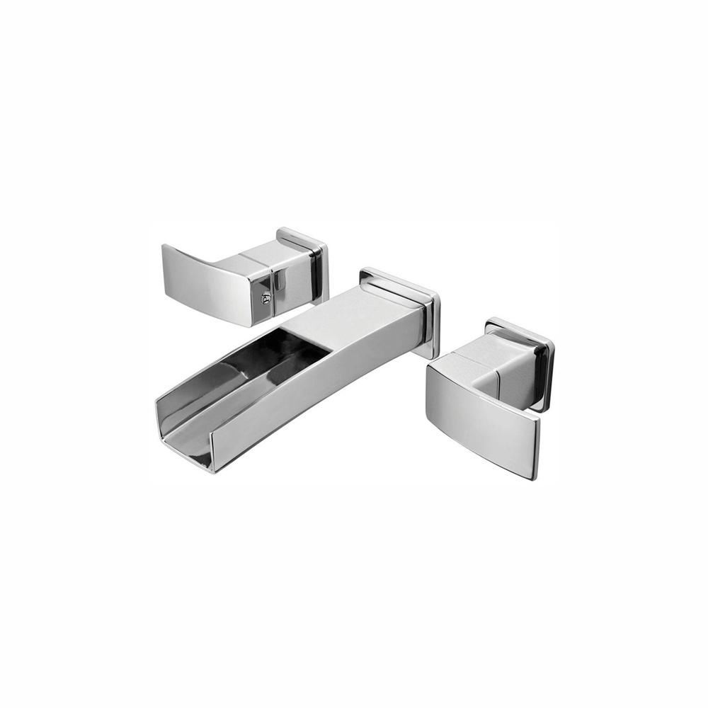 Pfister Kenzo 2-Handle Wall Mount Bathroom Sink Faucet Trim Kit in Brushed Nickel with Waterfall Spout (Valve Not Included), Polished Chrome was $165.33 now $112.42 (32.0% off)