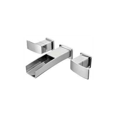 Kenzo 2-Handle Wall Mount Bathroom Sink Faucet Trim Kit in Brushed Nickel with Waterfall Spout (Valve Not Included)