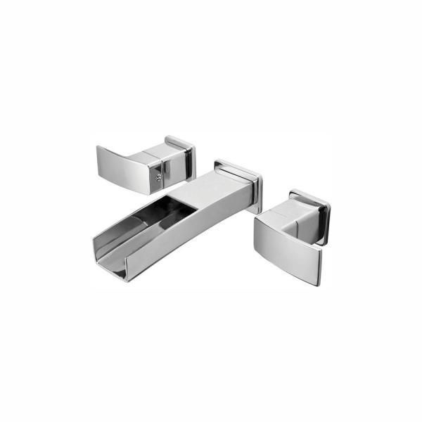 Pfister Kenzo 2-Handle Wall Mount Bathroom Sink Faucet Trim Kit in Brushed Nickel with Waterfall Spout (Valve Not Included)