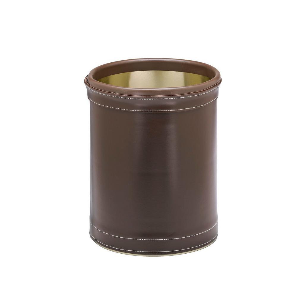 Stitched Chocolate 8 Qt. Round Waste Basket
