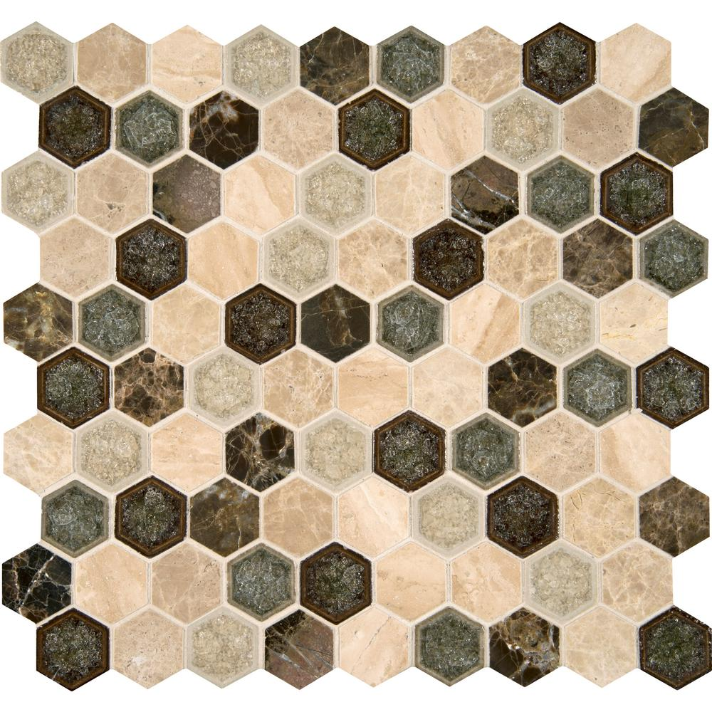 MSI Kensington Hexagon 12 in. x 12 in. x 8 mm Glass and Stone Mesh-Mounted Mosaic Wall Tile