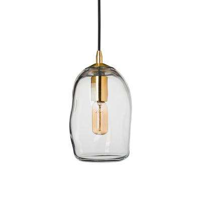 6 in. W x 9 in. H 1-Light Brass Organic Contemporary Hand Blown Glass Pendant Light with Clear Glass Shade
