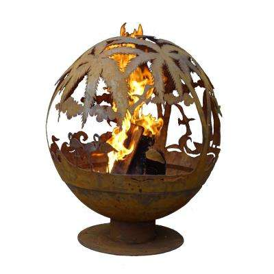 Tropical 32 in. x 36 in. Round Steel Wood Burning Fire Pit in Rust