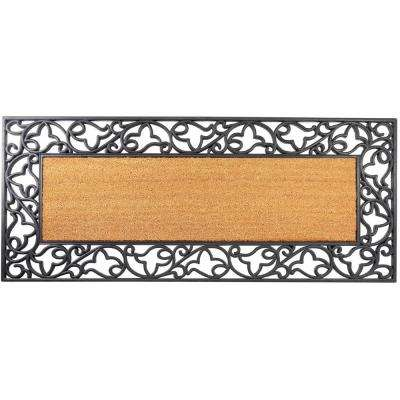 Floral Wrought Iron 57 in. x 24 in. Coir Insert Mat with Plain Coir Insert