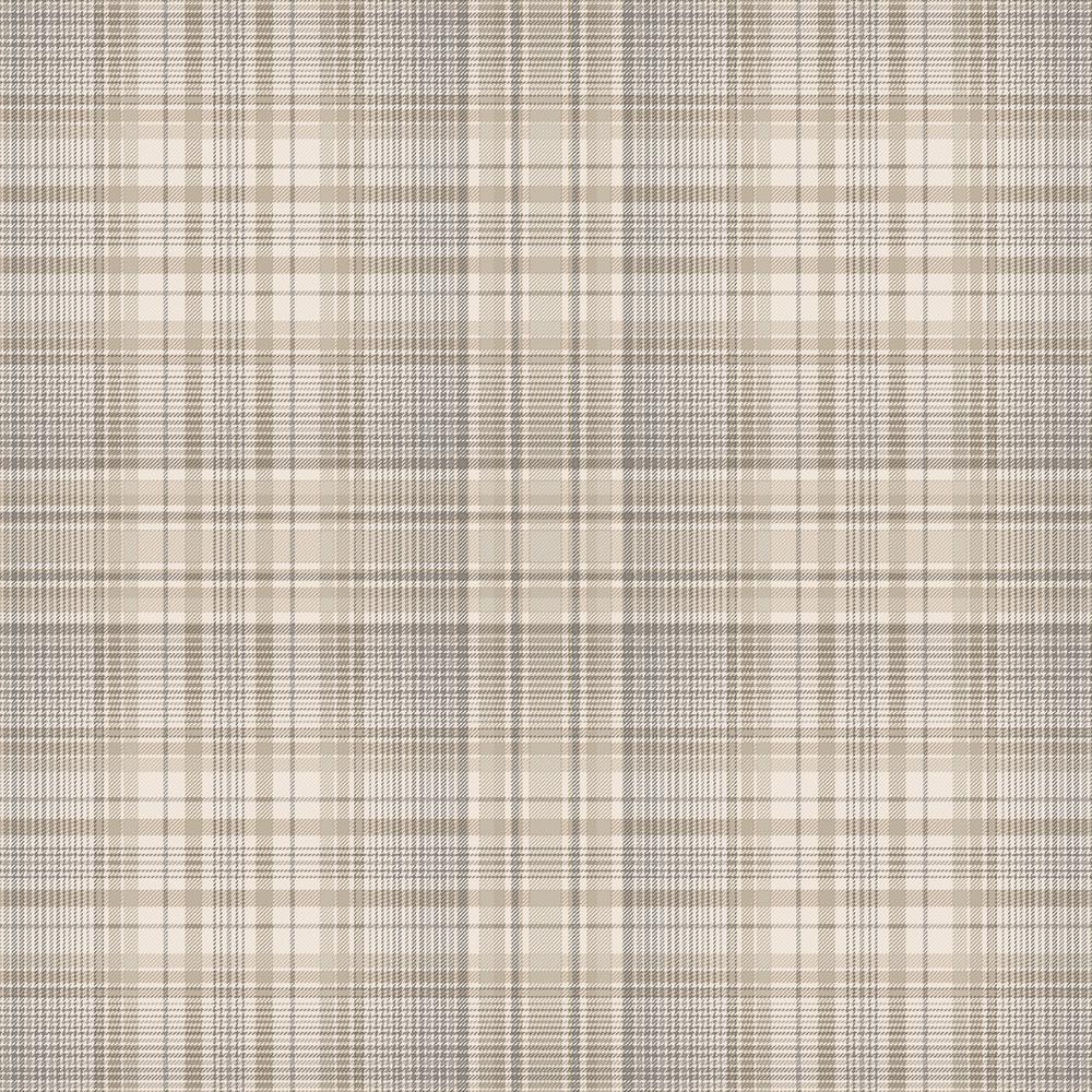 Check Plaid Beige, Coffee & Grey Vinyl Peelable Wallpaper (Covers 55 sq. ft.)