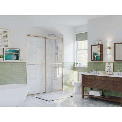 Paragon 64 in. to 65.5 in. x 66 in. Framed Sliding Shower Door with Towel Bar in Brushed Nickel and Clear Glass