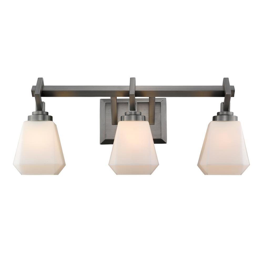 Hollis 3-Light Aged Steel Bath Light