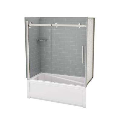 Utile Metro 30 in. x 59.8 in. x 81.4 in. Left Drain Alcove Bath and Shower Kit in Ash Grey with Chrome Door