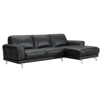 Everly Black Genuine Leather Contemporary Sleep Sectional with Brushed Stainless Steel Legs