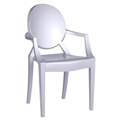 Clear Silver Arm Dining Chair