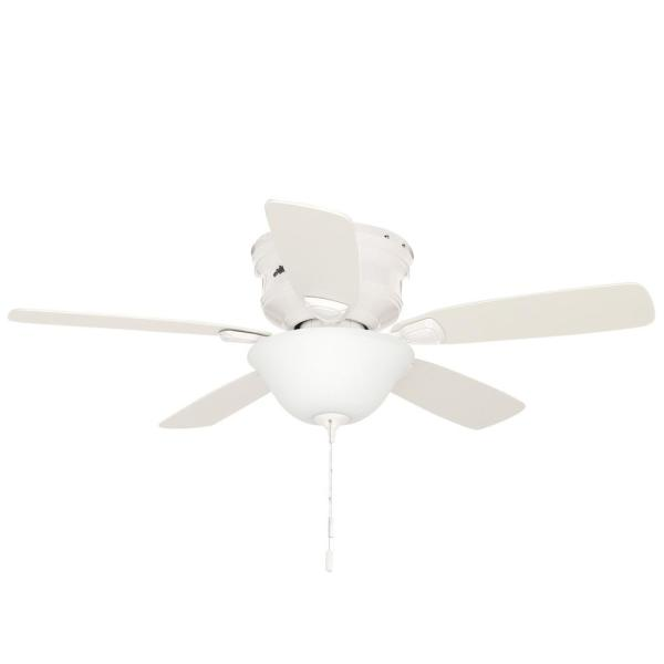 Hunter Low Profile 48 In Indoor White Ceiling Fan With Light Kit Bundled With Handheld Remote Control 52062r The Home Depot
