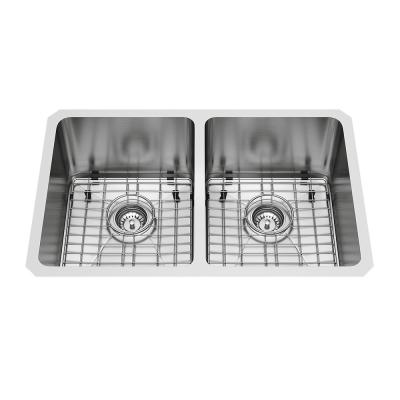Alma Undermount Stainless Steel 29.25 in. 50/50 Double Bowl Kitchen Sink with Grids, Strainers in Stainless Steel