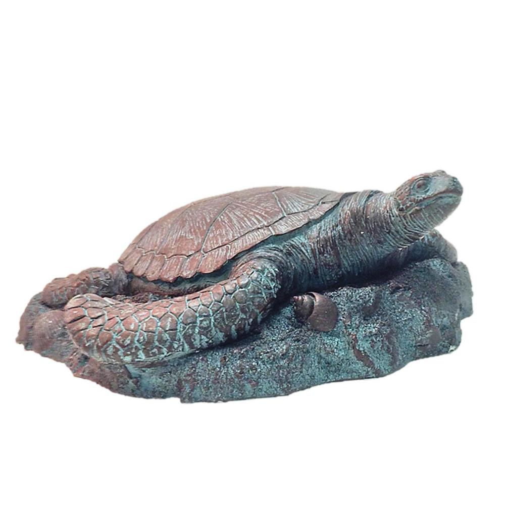 11 in. Sea Turtle 3/D Bronze Patina Coastal Stepping Stone