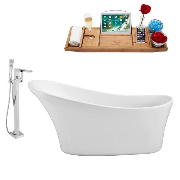 Tub, Faucet and Tray Set 63 in. Acrylic Flatbottom Non-Whirlpool Bathtub in Glossy White