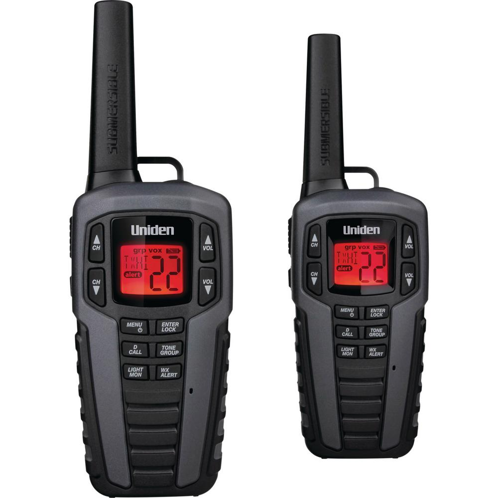 Uniden 37-Mile 2-Way FRS/Gmrs Radios in Gray (2-Pack) These Uniden 37-Mile 2-Way FRS/GMRS Radios are great for keeping in touch when you're out with family and friends. Whether you're camping, shopping, hiking or any other activity these radios will help you stay connected without having to worry about cell phone coverage or minutes. Enjoy simple, fuss-free two-way communication with Uniden.