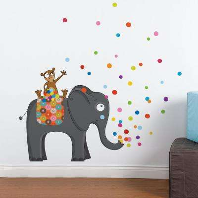 """(53 in x 51 in) Multi-Color """"Party Time"""" Kids Wall Decal"""