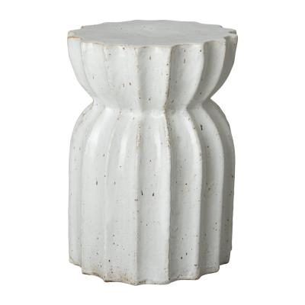 Lotus Distressed White Ceramic Garden Stool