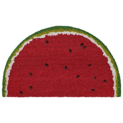 Natura Watermelon Red 18 in. x 30 in. 1/2 Round Outdoor Mat
