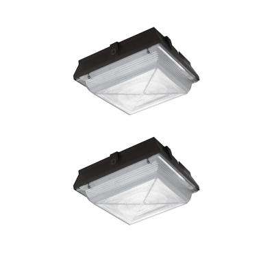 High-Output 20-Watt Integrated LED Canopy Security Light and Area Light, 2200 Lumens Outdoor Security Lighting (2-Pack)