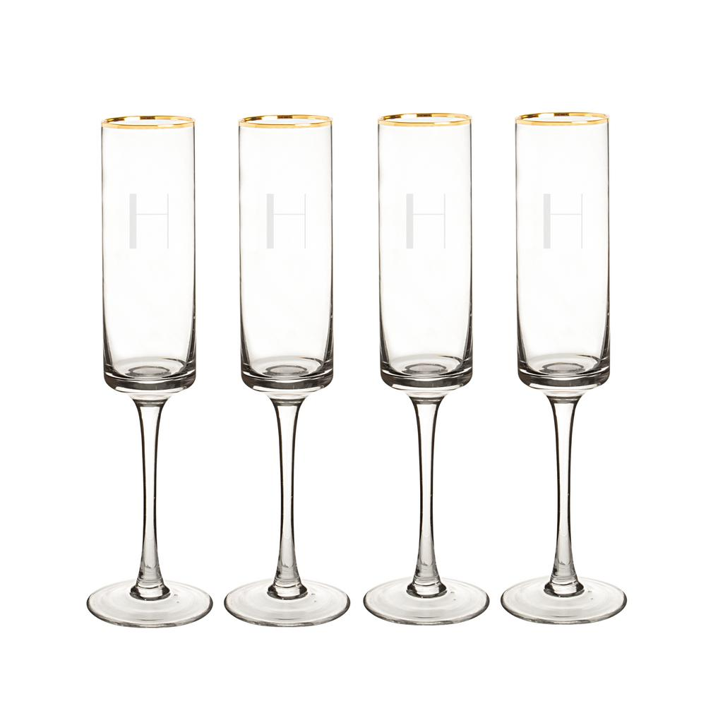 Personalized Gold Rim Contemporary Champagne Flutes - H