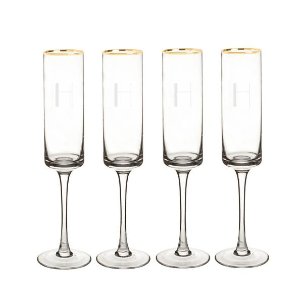 Cathy's Concepts Personalized Gold Rim Contemporary Champagne Flutes - H