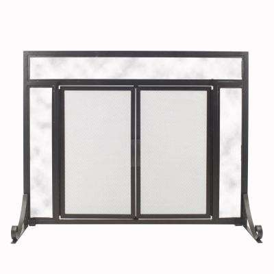 Manchester Petite Size Black Steel and Glass Single-Panel Fireplace Screen with Doors