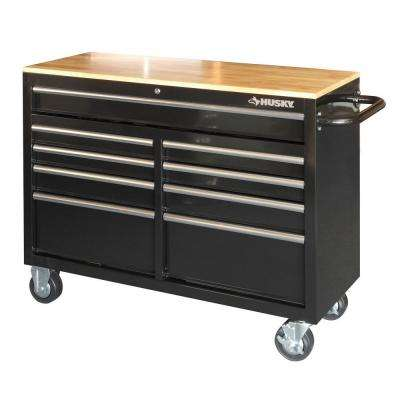 46 in. 9-Drawer Mobile Workbench with Solid Wood Top, Black