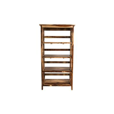 58 in. Natural Wood 4-shelf Accent Bookcase with Open Back