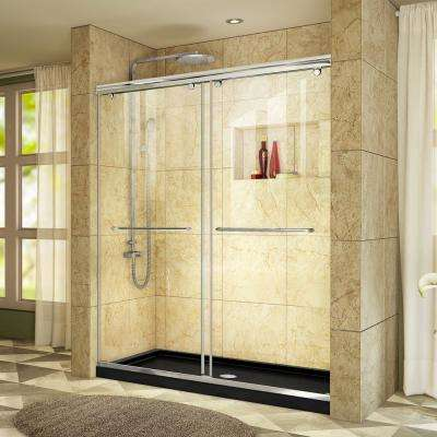 Charisma 30 in. x 60 in. x 78.75 in. Semi-Frameless Sliding Shower Door in Chrome with Center Drain Shower Base