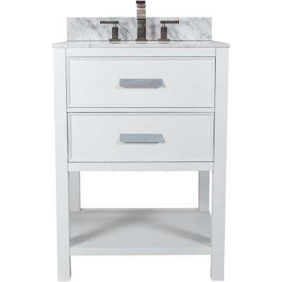 Cleo 24.50 in. W x 22.75 in. D Bath Vanity in White with Granite Vanity Top in White with Black Nickel Basin