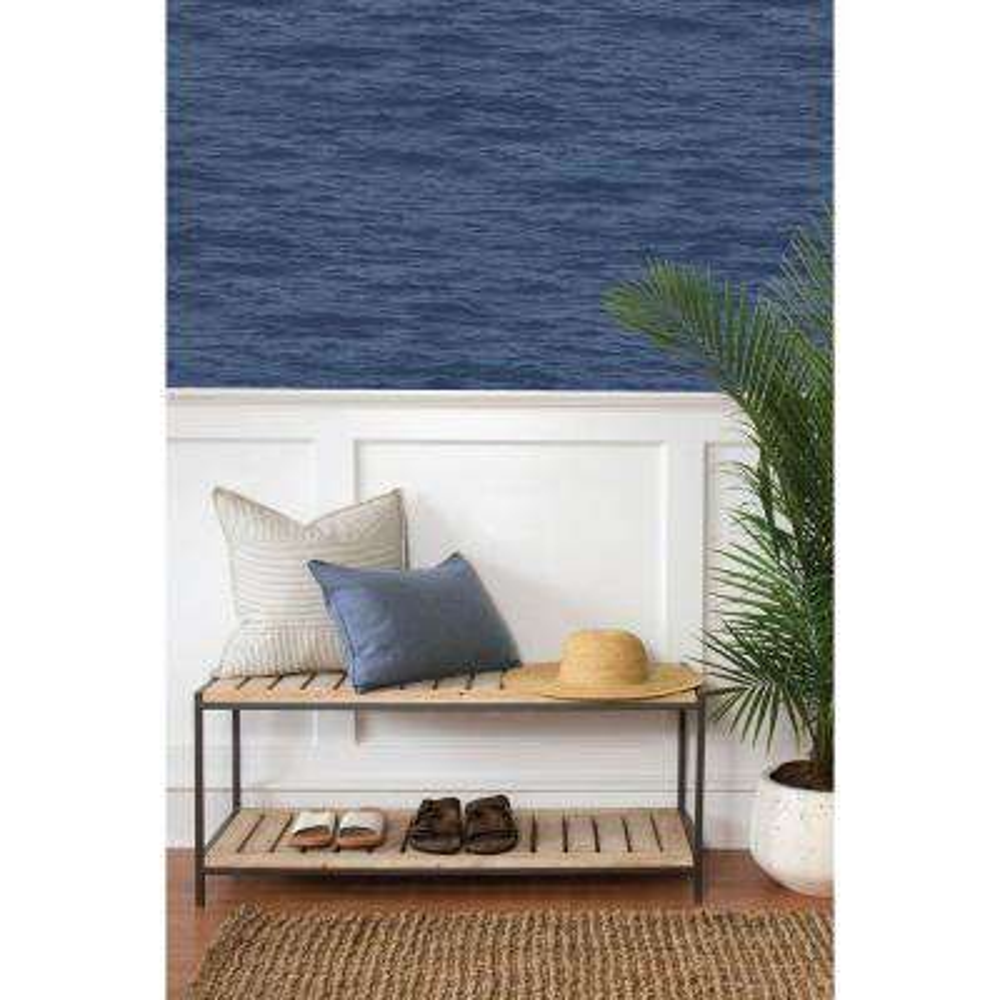 Denim Blue Serene Sea Peel and Stick Wallpaper 30.75 sq. ft.