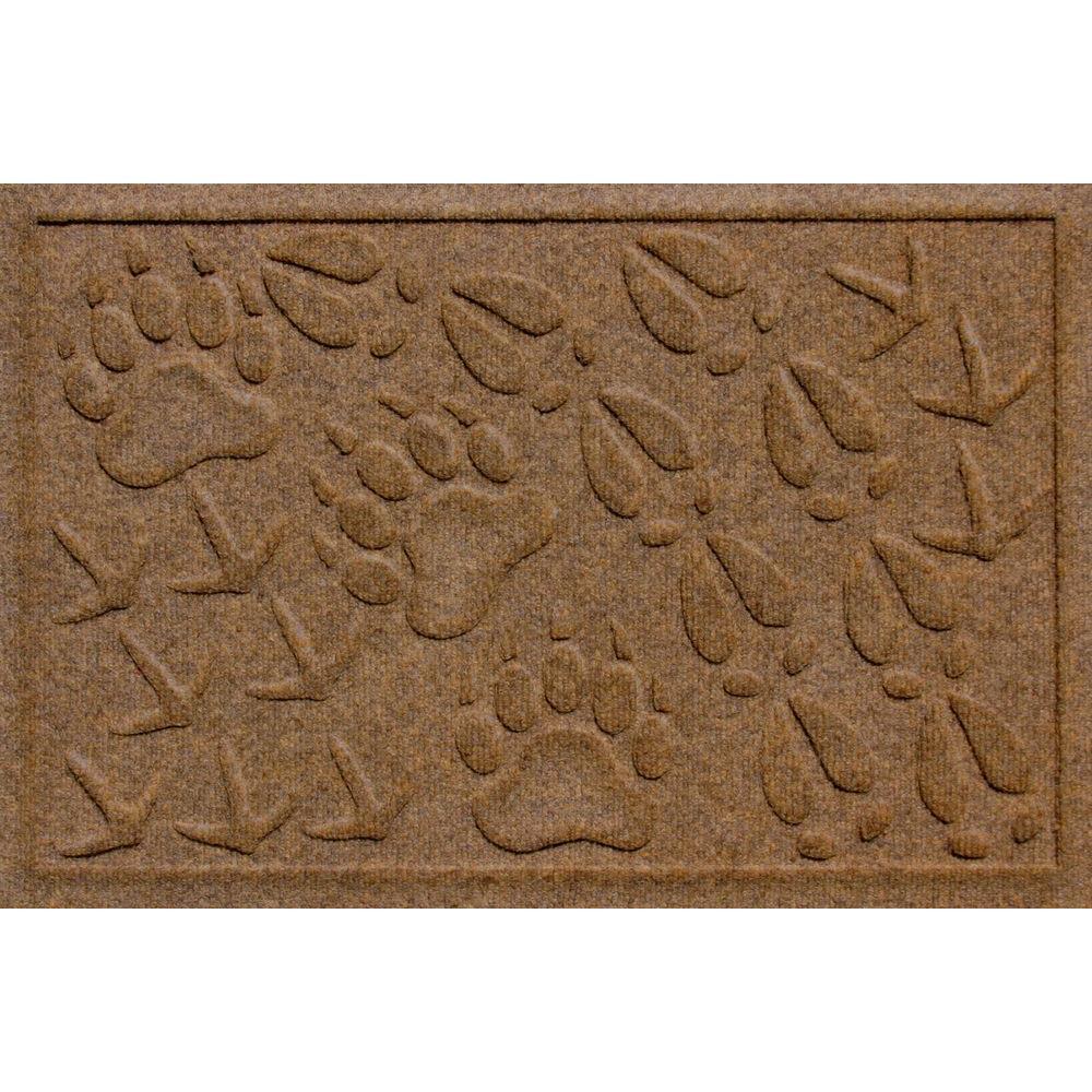Aqua Shield Animal Tracks Dark Brown 17.5 in. x 26.5 in. Pet Mat