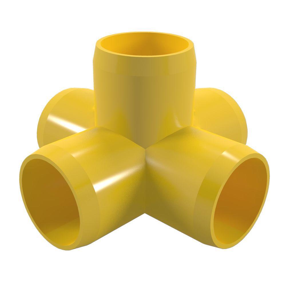 1/2 in. Furniture Grade PVC 5-Way Cross in Yellow (10-Pack)